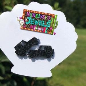 New Glitter Black Jeep Earrings!!